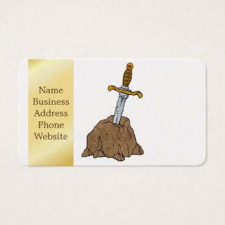 espada del dibujo animado en piedra tarjetas de visita