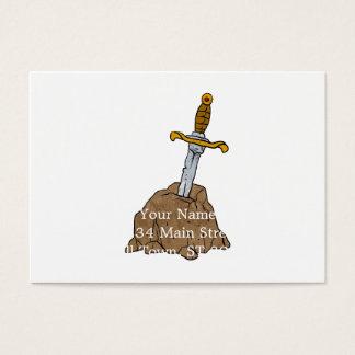 espada del dibujo animado en piedra tarjetas de visita grandes