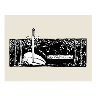 Espada en la piedra postal