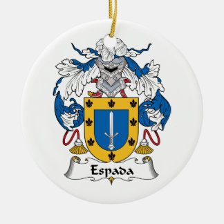 Espada Family Crest Double-Sided Ceramic Round Christmas Ornament