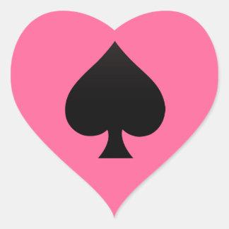Espada - juego del icono de las tarjetas pegatina en forma de corazón