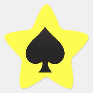 Espada negra - juego de las tarjetas, póker, lanza pegatina en forma de estrella