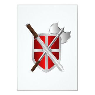 """Espada y escudo del hacha de la batalla invitación 3.5"""" x 5"""""""