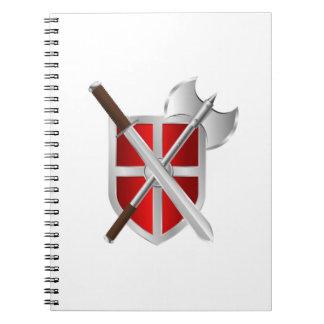 Espada y escudo del hacha de la batalla libretas espirales