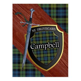 Espada y escudo del tartán de Campbell del escocés Tarjetas Postales