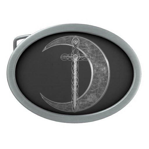 Espada y luna célticas grises hebilla cinturón