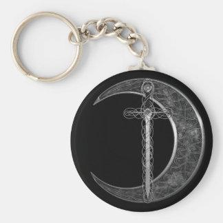Espada y luna célticas grises llaveros personalizados