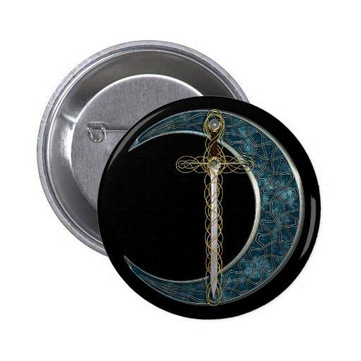 Espada y luna célticas pin redondo de 2 pulgadas