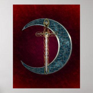 Espada y luna célticas póster