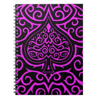 Espada y Scrollwork - rosa Libreta Espiral
