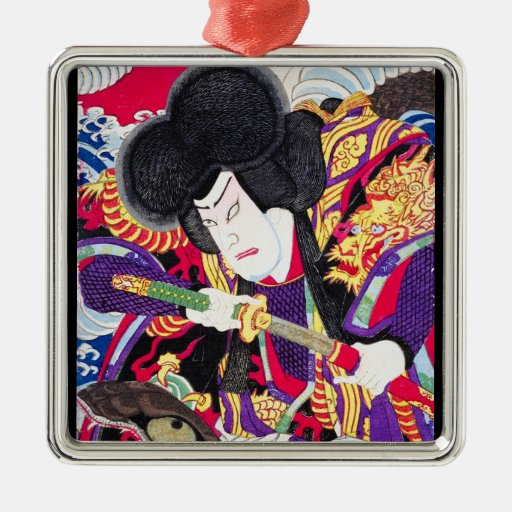 Espadachín clásico japonés oriental fresco del adorno cuadrado plateado