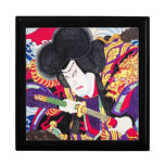 Espadachín clásico japonés oriental fresco del sam cajas de joyas