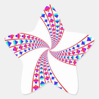 Espadas, corazones, diamantes, y clubs coloridos pegatina en forma de estrella