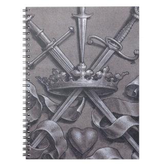 Espadas corona y corazón cuadernos