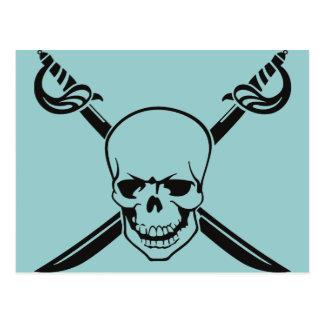 Espadas cruzadas con el cráneo tarjetas postales