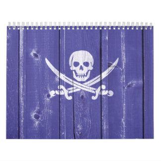 Espadas de la cruz del cráneo de la diversión en calendarios