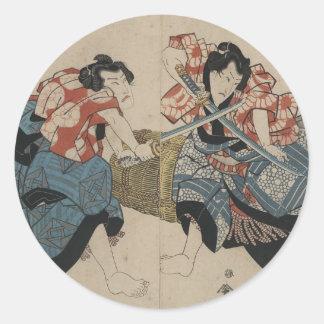 Espadas de la travesía del samurai circa 1825 pegatinas redondas