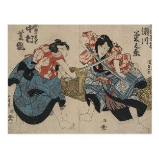 Espadas de la travesía del samurai circa 1825 postal