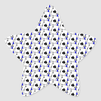 Espadas de la veintiuna azules pegatina en forma de estrella