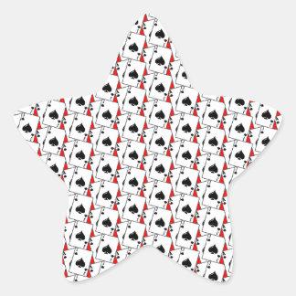 Espadas de la veintiuna rojas pegatina en forma de estrella