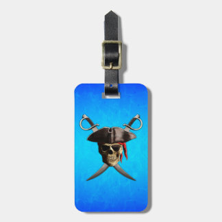 Espadas del cráneo del pirata etiqueta para maleta