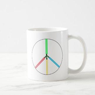 Espadas del laser de la paz de mundo tazas de café