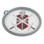 Espadas, escudo y hebilla del cinturón del casco hebilla de cinturón oval
