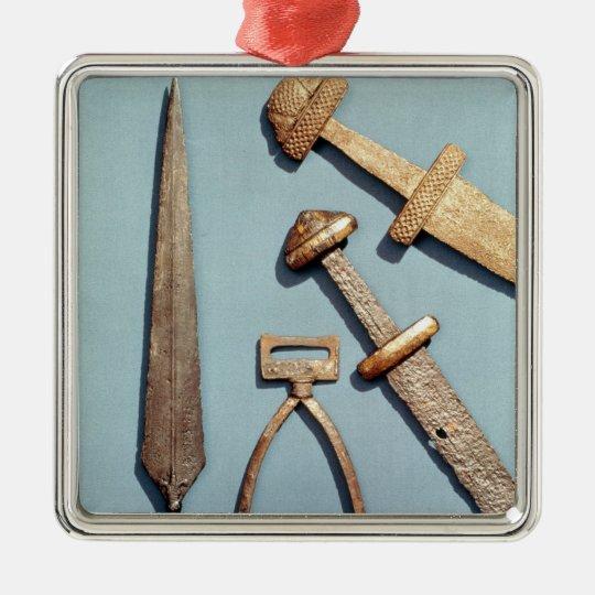Espadas, estribo y punta de lanza de Viking Adorno Navideño Cuadrado De Metal