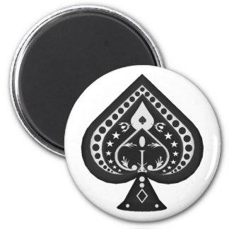 Espadas negras: Juego de los naipes: Imán Redondo 5 Cm