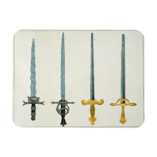 Espadas, placa 'de una historia del desarrollo a imán foto rectangular