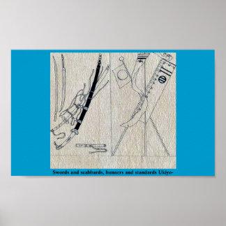 Espadas y fundas, banderas y estándares Ukiyo- Póster