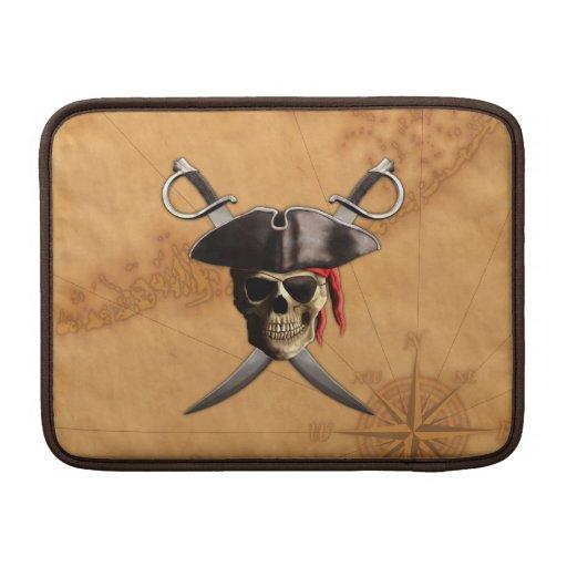 Espadas y mapa del cráneo del pirata fundas MacBook