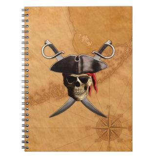 Espadas y mapa del cráneo del pirata libros de apuntes