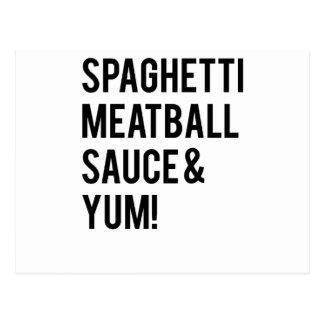 ¡Espaguetis, albóndiga, salsa y Yum! Tarjetas Postales
