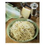 Espaguetis con el romano y el negro de Pecorino Póster