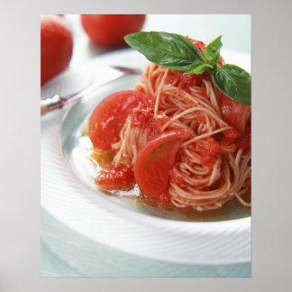 Espaguetis del tomate póster