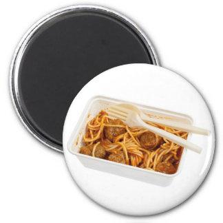 Espaguetis para llevar de la albóndiga imán redondo 5 cm