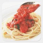 Espaguetis Pomodoro Pegatina Cuadradas Personalizada