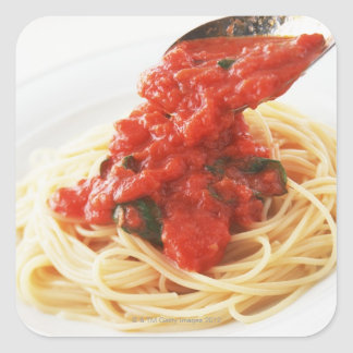 Espaguetis Pomodoro Pegatina Cuadrada