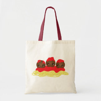 Espaguetis y albóndigas bolsa lienzo