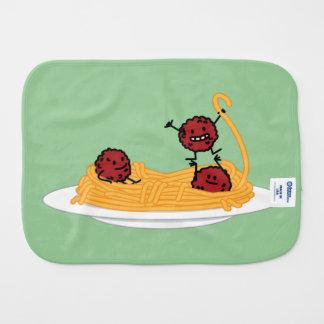 Espaguetis y albóndigas felices paños para bebé