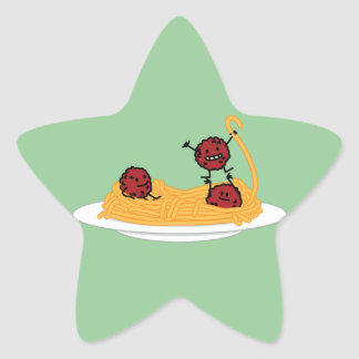 Espaguetis y albóndigas felices pegatina en forma de estrella