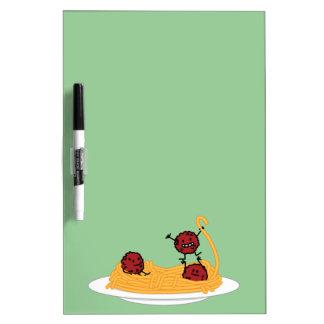 Espaguetis y albóndigas felices pizarras blancas de calidad