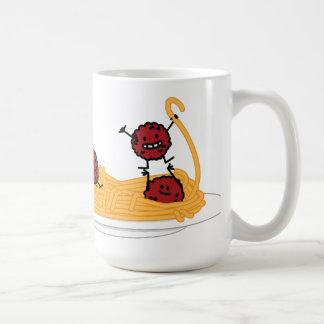 Espaguetis y albóndigas felices taza