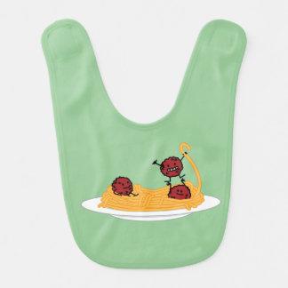 Espaguetis y albóndigas felices baberos de bebé