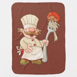 Espaguetis y albóndigas italianos del cocinero manta de bebé