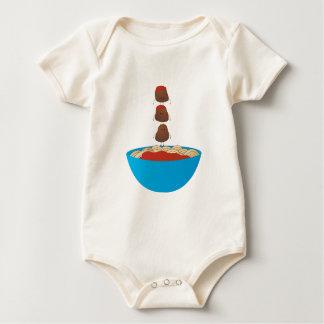 Espaguetis y albóndigas mamelucos de bebé