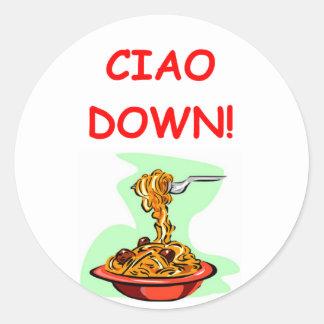 espaguetis y albóndigas etiqueta
