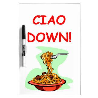 espaguetis y albóndigas tableros blancos