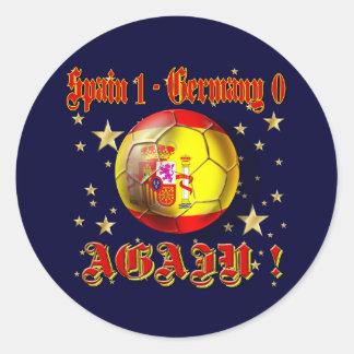España 1 Alemania 0 otra vez campeones de España Pegatina Redonda